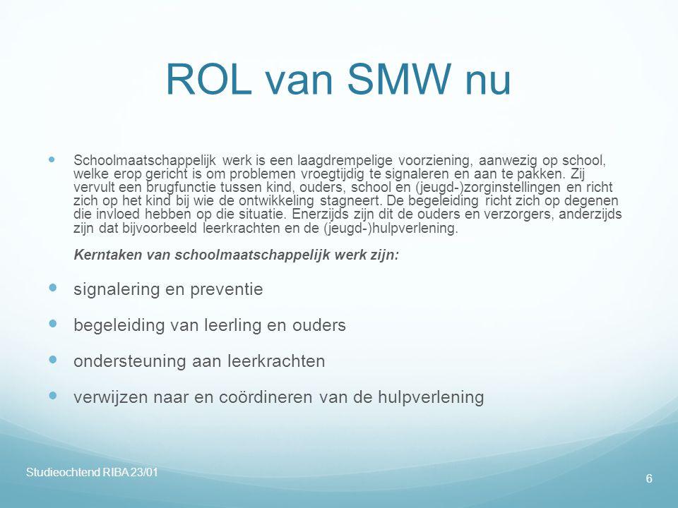 ROL van SMW nu  Schoolmaatschappelijk werk is een laagdrempelige voorziening, aanwezig op school, welke erop gericht is om problemen vroegtijdig te signaleren en aan te pakken.