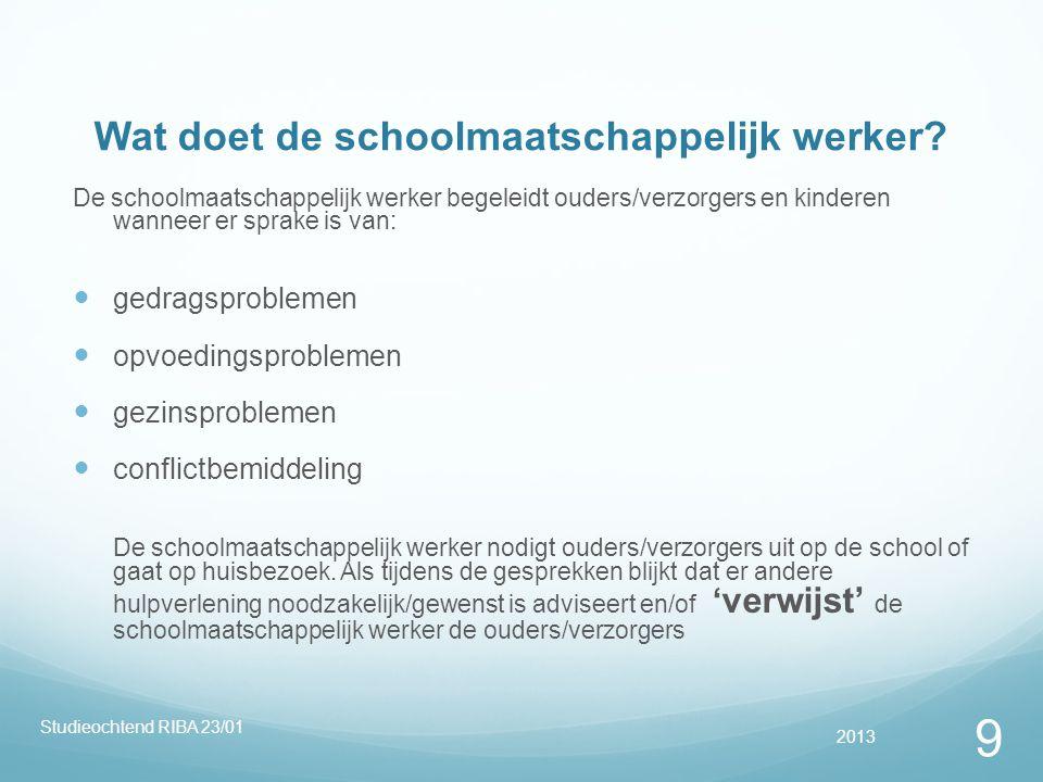 Wat doet de schoolmaatschappelijk werker? De schoolmaatschappelijk werker begeleidt ouders/verzorgers en kinderen wanneer er sprake is van:  gedragsp