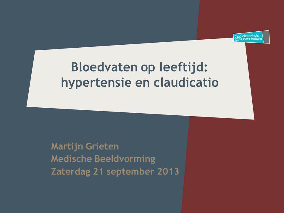 Bloedvaten op leeftijd: hypertensie en claudicatio Martijn Grieten Medische Beeldvorming Zaterdag 21 september 2013