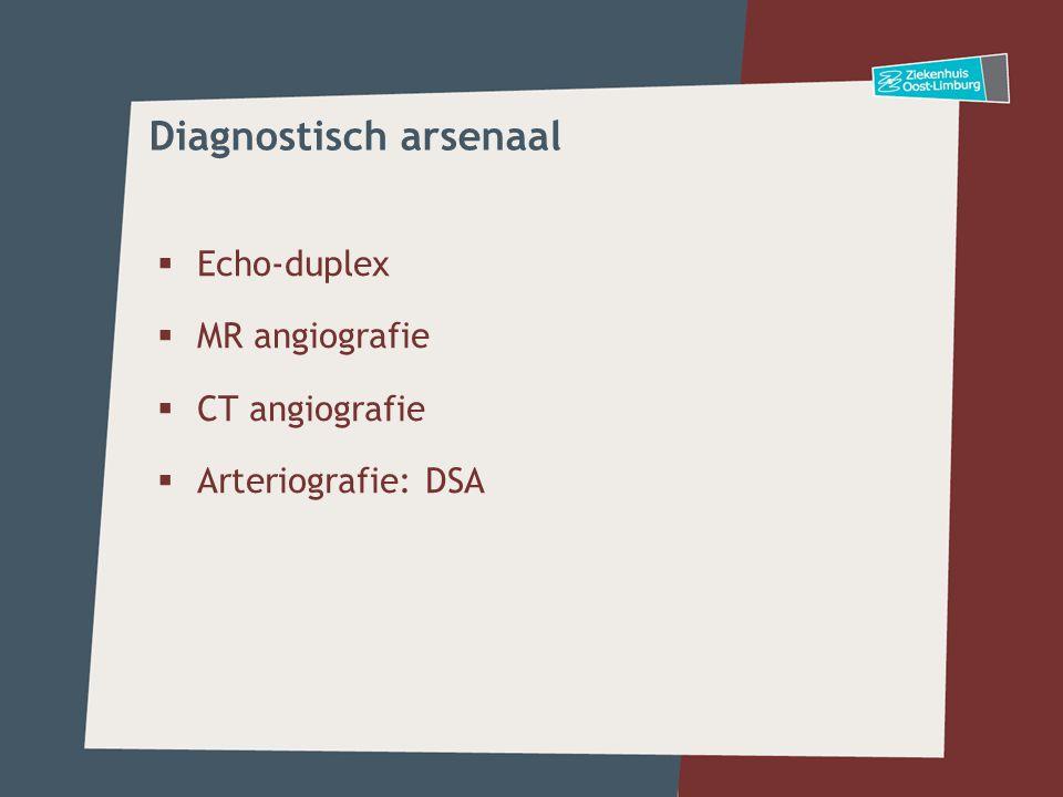  Echo-duplex  MR angiografie  CT angiografie  Arteriografie: DSA Diagnostisch arsenaal