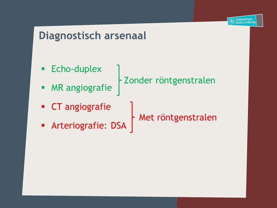  Echo-duplex  MR angiografie  CT angiografie  Arteriografie: DSA Zonder röntgenstralen Met röntgenstralen Diagnostisch arsenaal
