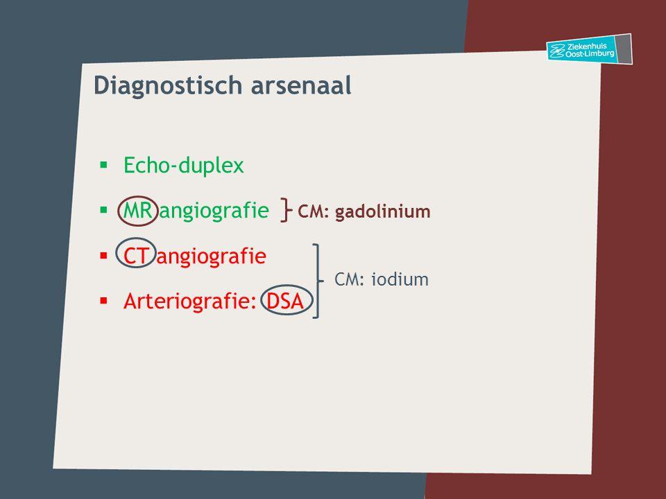  Echo-duplex  MR angiografie  CT angiografie  Arteriografie: DSA CM: gadolinium CM: iodium Diagnostisch arsenaal