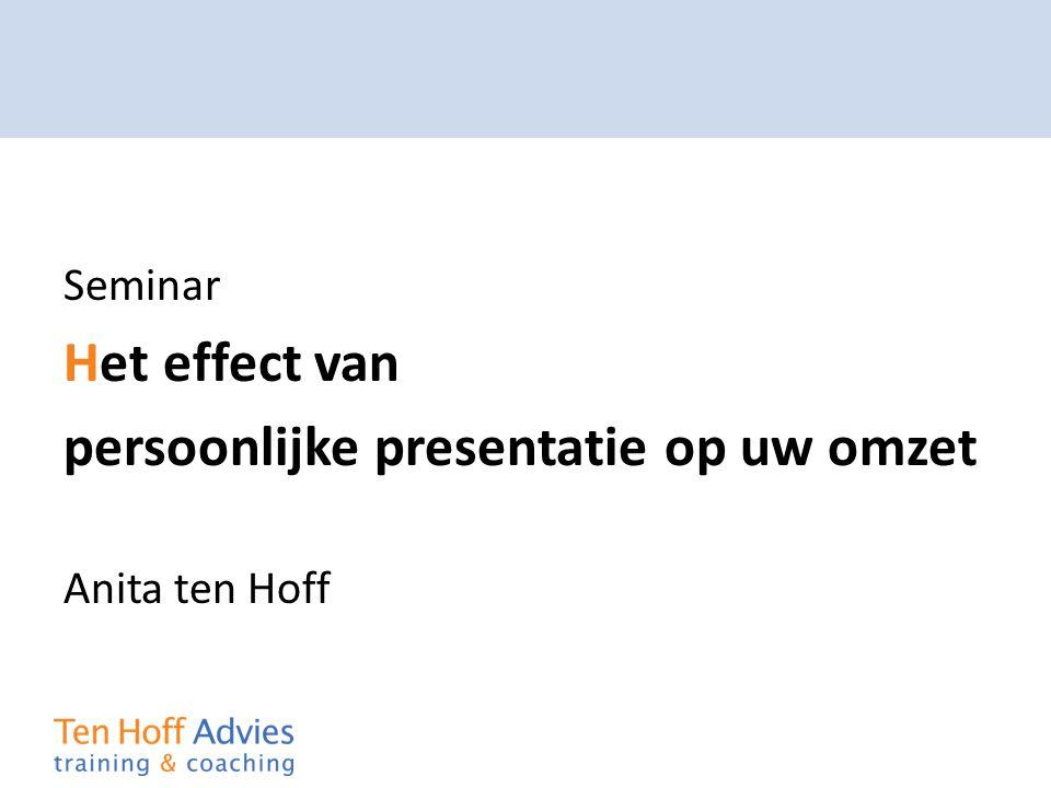 Seminar Het effect van persoonlijke presentatie op uw omzet Anita ten Hoff