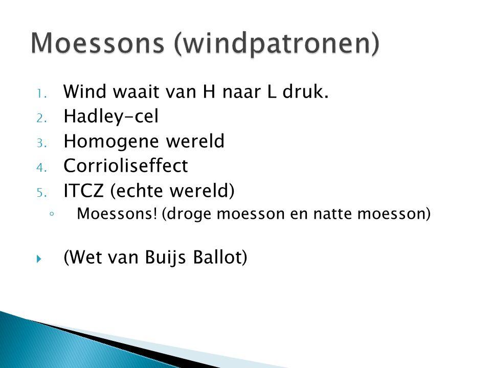 1. Wind waait van H naar L druk. 2. Hadley-cel 3. Homogene wereld 4. Corrioliseffect 5. ITCZ (echte wereld) ◦ Moessons! (droge moesson en natte moesso