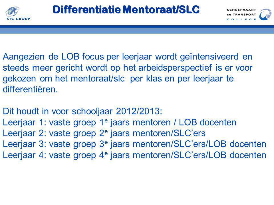 Differentiatie Mentoraat/SLC Aangezien de LOB focus per leerjaar wordt geïntensiveerd en steeds meer gericht wordt op het arbeidsperspectief is er voo