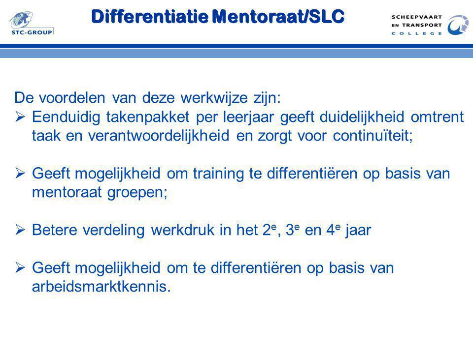 Differentiatie Mentoraat/SLC De voordelen van deze werkwijze zijn:  Eenduidig takenpakket per leerjaar geeft duidelijkheid omtrent taak en verantwoor