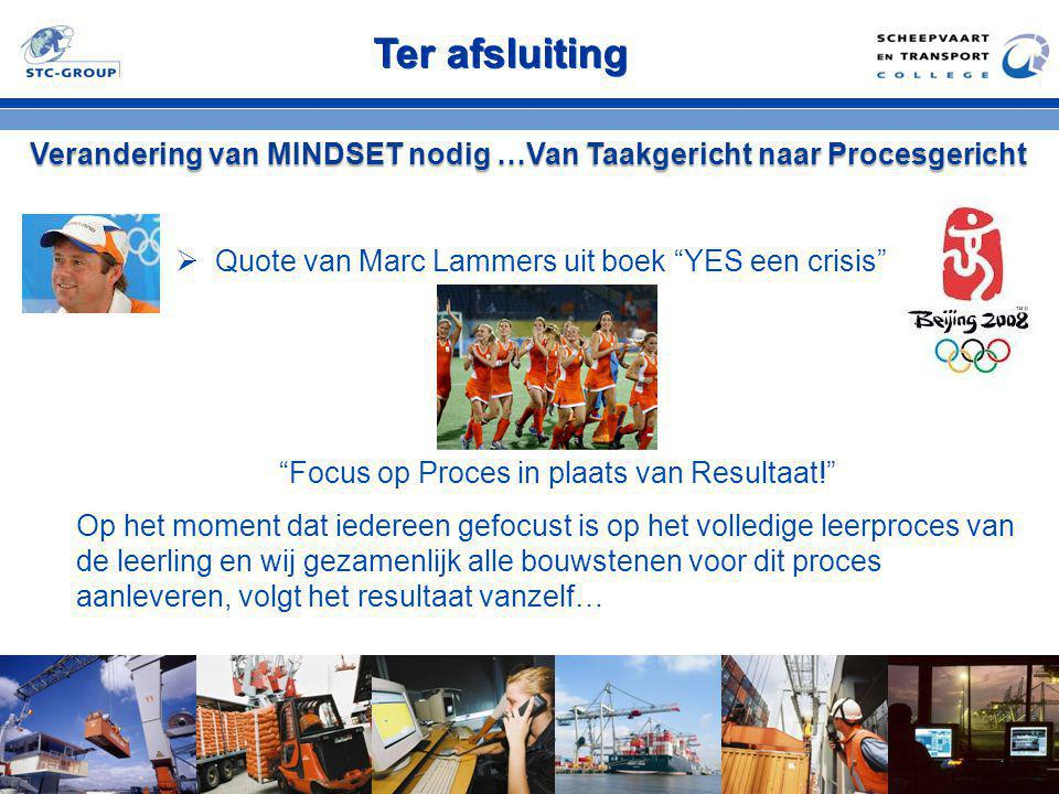 """Ter afsluiting Verandering van MINDSET nodig …Van Taakgericht naar Procesgericht  Quote van Marc Lammers uit boek """"YES een crisis"""" """"Focus op Proces i"""