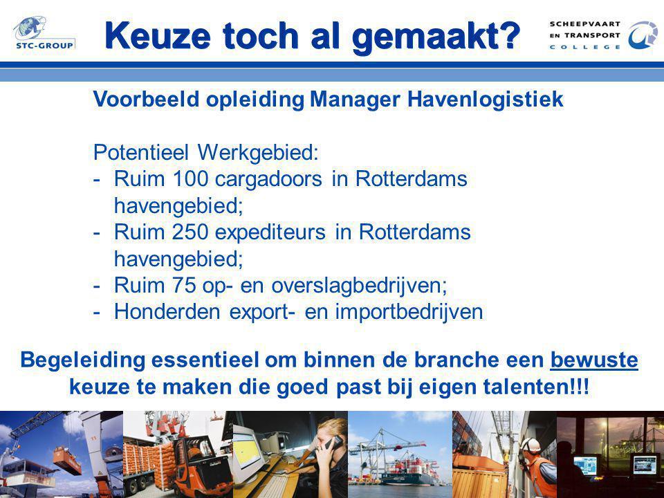 Keuze toch al gemaakt? Voorbeeld opleiding Manager Havenlogistiek Potentieel Werkgebied: -Ruim 100 cargadoors in Rotterdams havengebied; -Ruim 250 exp