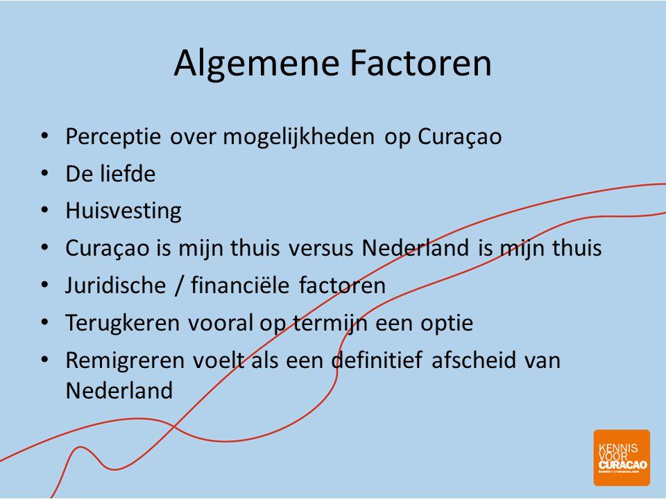 Algemene Factoren • Perceptie over mogelijkheden op Curaçao • De liefde • Huisvesting • Curaçao is mijn thuis versus Nederland is mijn thuis • Juridische / financiële factoren • Terugkeren vooral op termijn een optie • Remigreren voelt als een definitief afscheid van Nederland