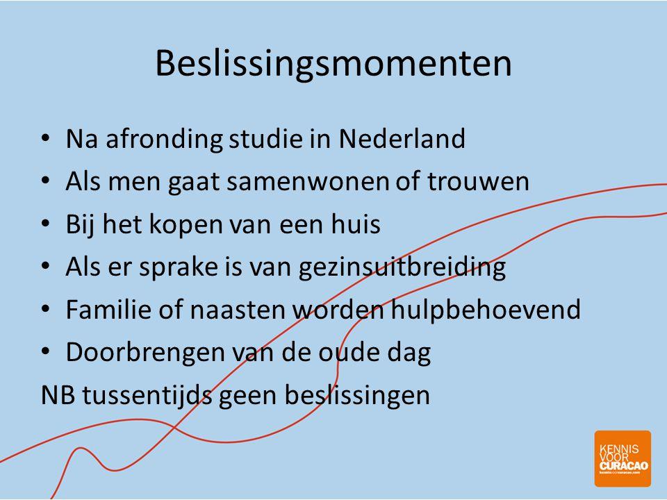 Beslissingsmomenten • Na afronding studie in Nederland • Als men gaat samenwonen of trouwen • Bij het kopen van een huis • Als er sprake is van gezinsuitbreiding • Familie of naasten worden hulpbehoevend • Doorbrengen van de oude dag NB tussentijds geen beslissingen