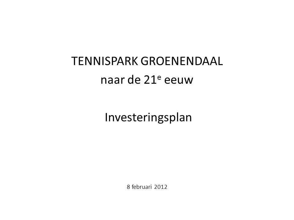 TENNISPARK GROENENDAAL naar de 21 e eeuw Investeringsplan 8 februari 2012
