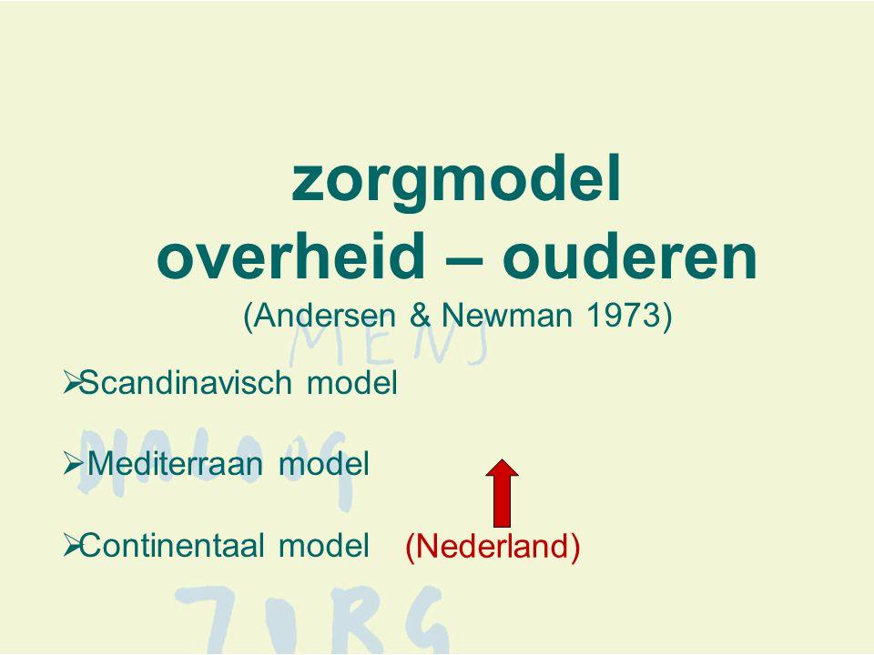 zorgmodel overheid – ouderen (Andersen & Newman 1973)  Scandinavisch model  Mediterraan model  Continentaal model (Nederland)