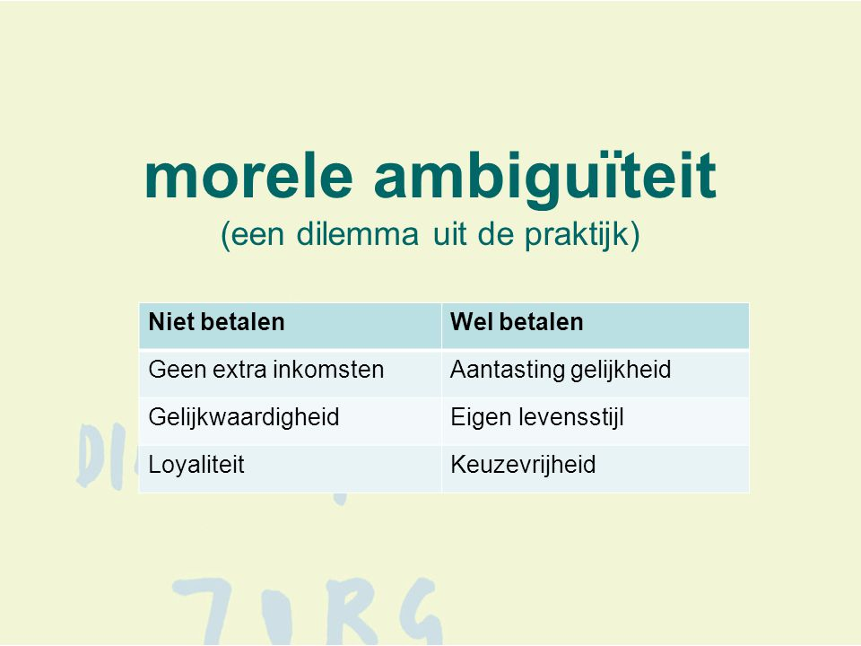 morele ambiguïteit (een dilemma uit de praktijk) Niet betalenWel betalen Geen extra inkomstenAantasting gelijkheid GelijkwaardigheidEigen levensstijl LoyaliteitKeuzevrijheid