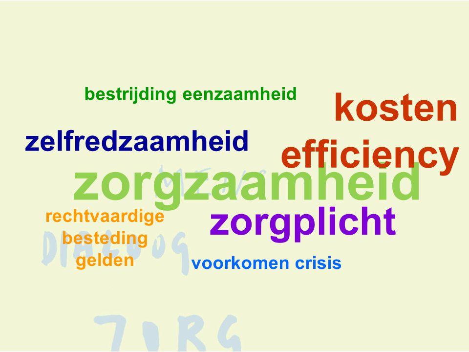 bestrijding eenzaamheid voorkomen crisis zorgzaamheid kosten efficiency zorgplicht zelfredzaamheid rechtvaardige besteding gelden