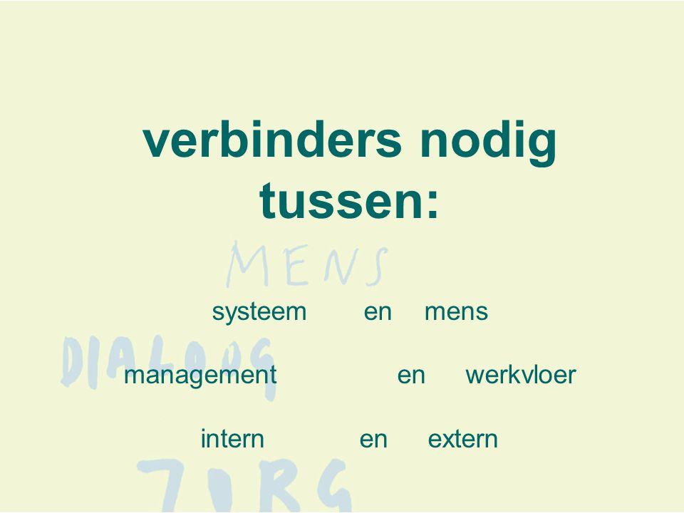 verbinders nodig tussen: systeem en mens managementenwerkvloer intern en extern