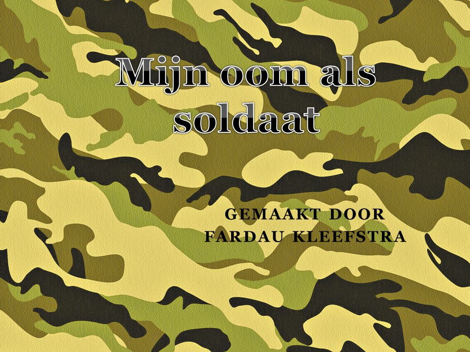 Kopjes 1 Waarom heb ik dit onderwerp gekozen 2 Wat doet het leger 3 Baret,helm,camouflage 4 Missie 5 Vragen aan ome Frank 6 Oefening 7 Vragen aan de klas 8 Vragen van de klas 9 Einde