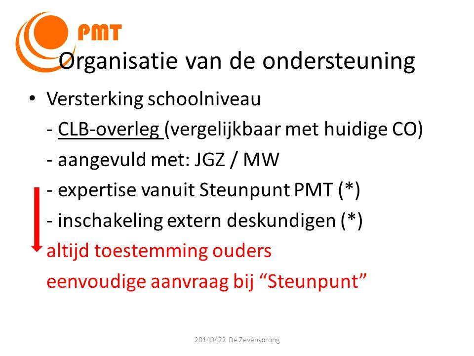 Organisatie van de ondersteuning • Versterking schoolniveau - CLB-overleg (vergelijkbaar met huidige CO) - aangevuld met: JGZ / MW - expertise vanuit