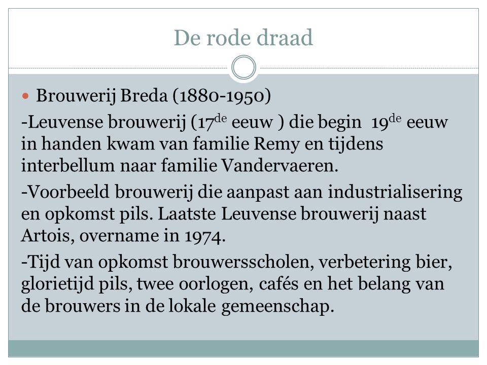 De rode draad  Brouwerij Breda (1880-1950) -Leuvense brouwerij (17 de eeuw ) die begin 19 de eeuw in handen kwam van familie Remy en tijdens interbel