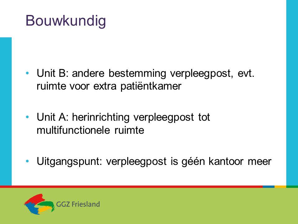 Bouwkundig •Unit B: andere bestemming verpleegpost, evt.