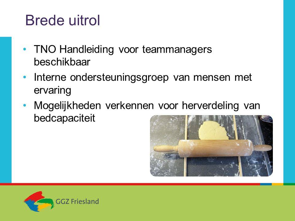 Brede uitrol •TNO Handleiding voor teammanagers beschikbaar •Interne ondersteuningsgroep van mensen met ervaring •Mogelijkheden verkennen voor herverdeling van bedcapaciteit