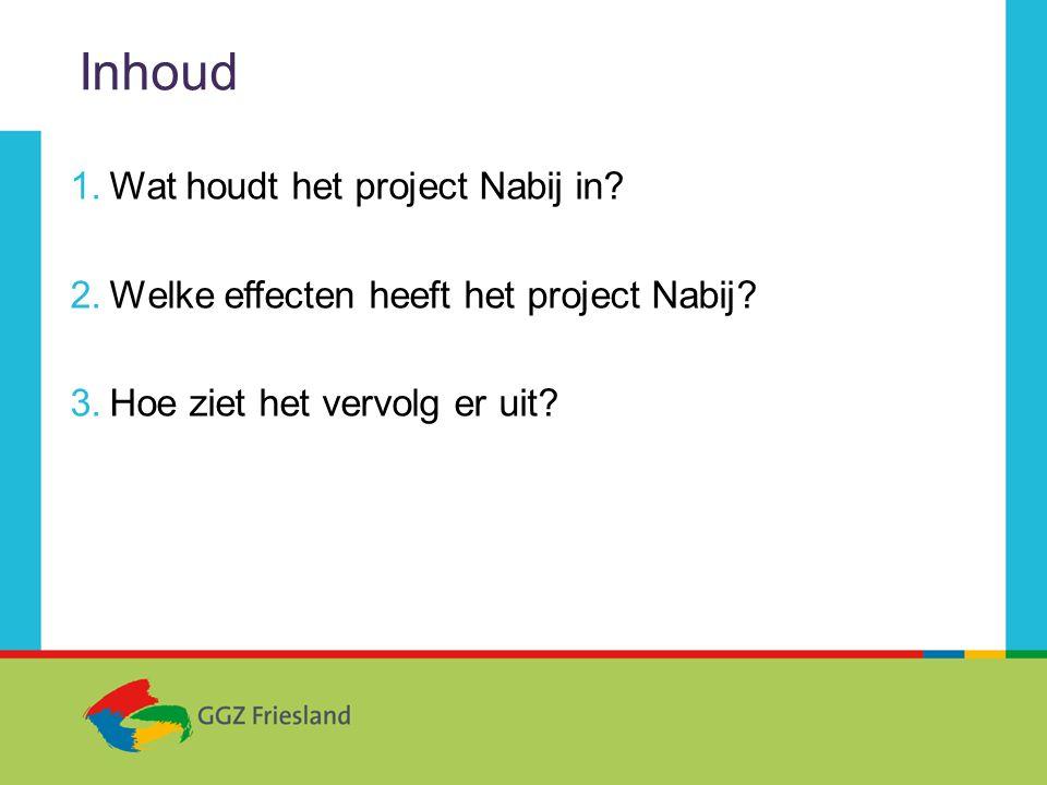Inhoud 1.Wat houdt het project Nabij in.2.Welke effecten heeft het project Nabij.