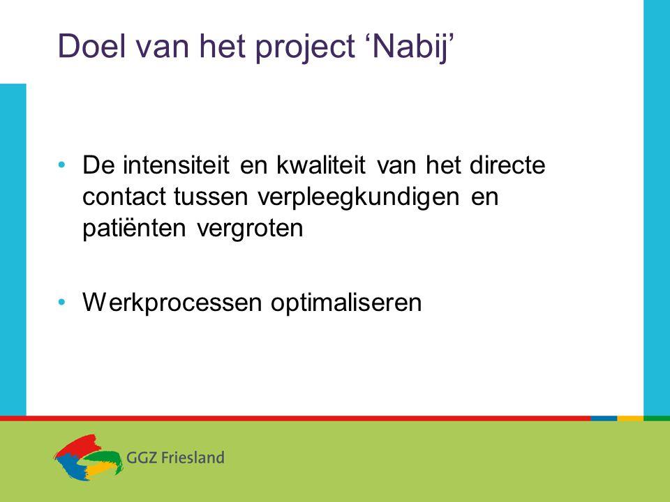 Doel van het project 'Nabij' •De intensiteit en kwaliteit van het directe contact tussen verpleegkundigen en patiënten vergroten •Werkprocessen optimaliseren