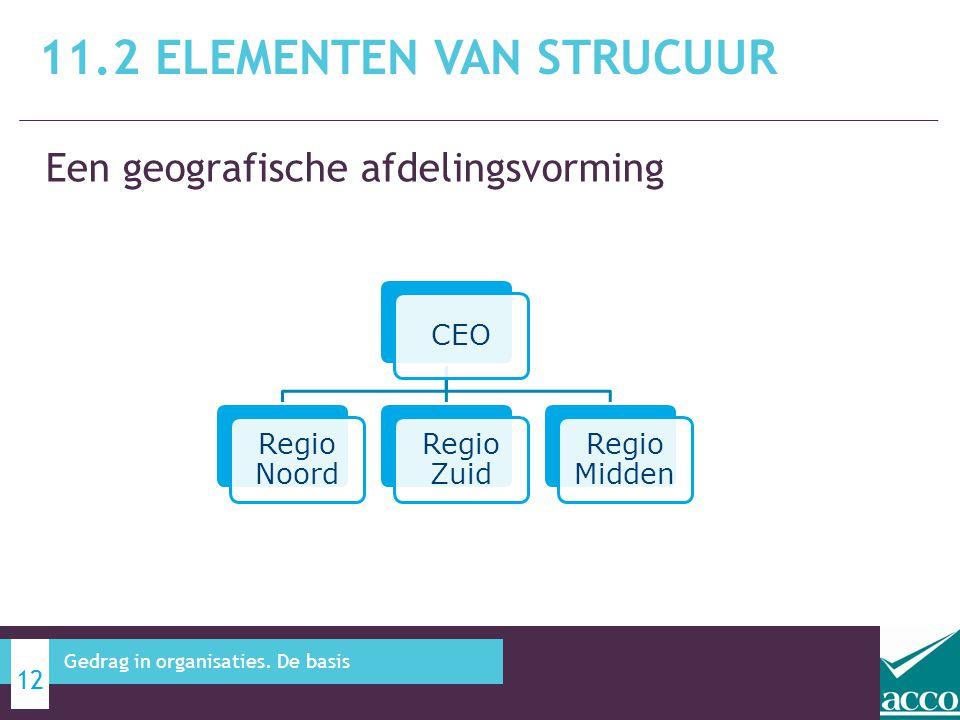 Een geografische afdelingsvorming 11.2 ELEMENTEN VAN STRUCUUR 12 Gedrag in organisaties. De basis CEO Regio Noord Regio Zuid Regio Midden