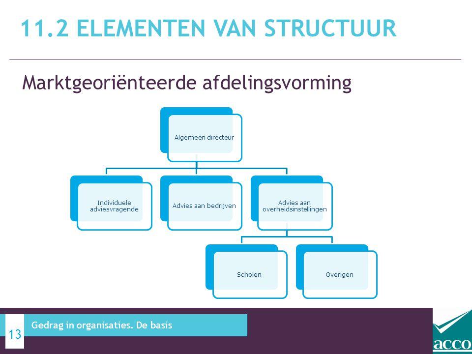 Marktgeoriënteerde afdelingsvorming 11.2 ELEMENTEN VAN STRUCTUUR 13 Gedrag in organisaties. De basis Algemeen directeur Individuele adviesvragende Adv