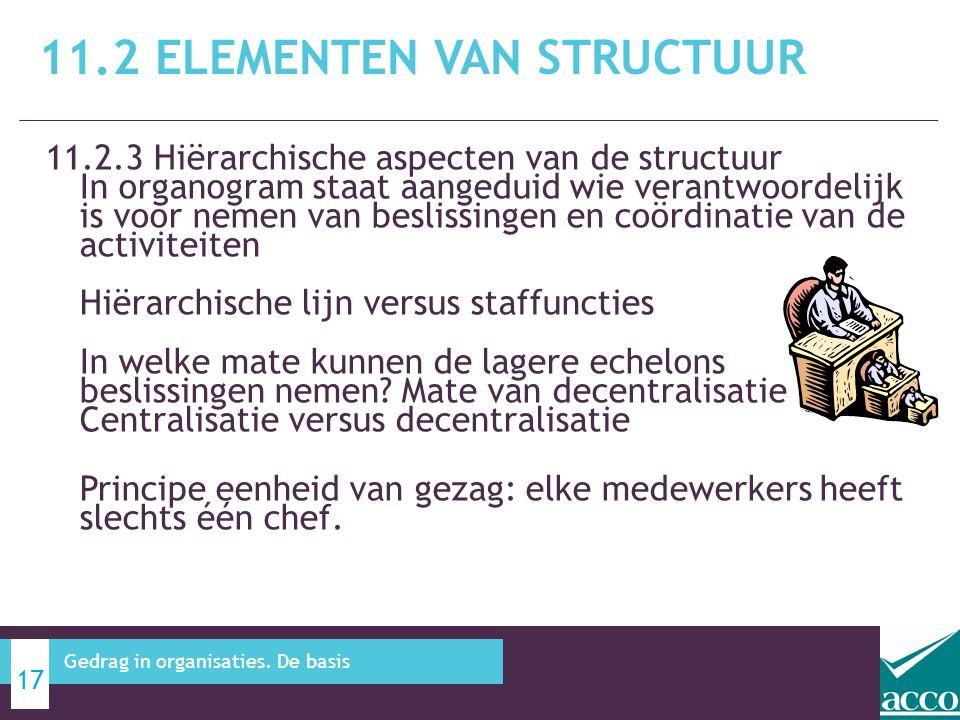 11.2.3 Hiërarchische aspecten van de structuur In organogram staat aangeduid wie verantwoordelijk is voor nemen van beslissingen en coördinatie van de