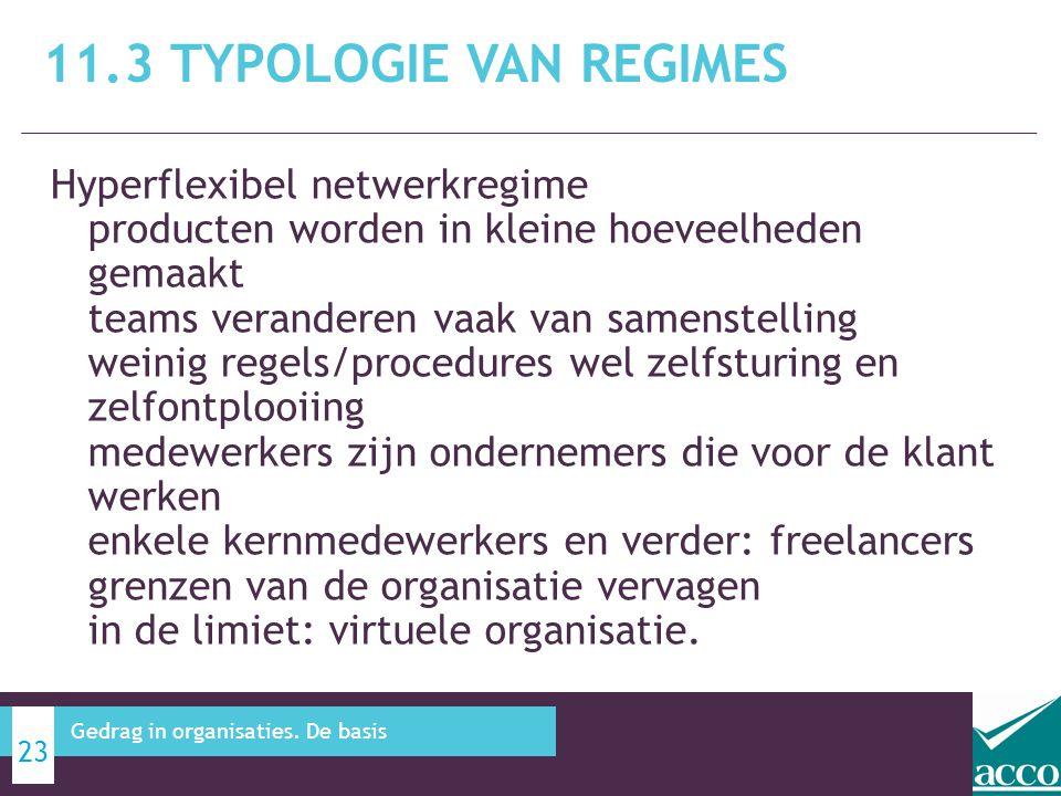 Hyperflexibel netwerkregime producten worden in kleine hoeveelheden gemaakt teams veranderen vaak van samenstelling weinig regels/procedures wel zelfs