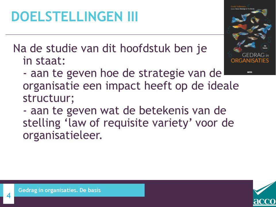 Na de studie van dit hoofdstuk ben je in staat: - aan te geven hoe de strategie van de organisatie een impact heeft op de ideale structuur; - aan te g