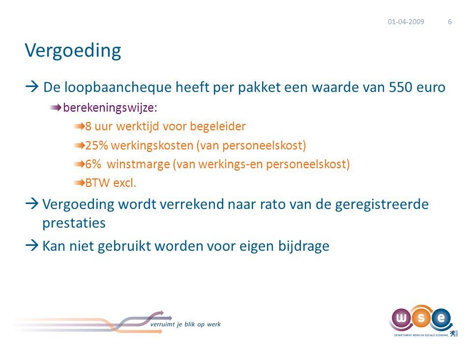 Vergoeding  De loopbaancheque heeft per pakket een waarde van 550 euro berekeningswijze: 8 uur werktijd voor begeleider 25% werkingskosten (van personeelskost) 6% winstmarge (van werkings-en personeelskost) BTW excl.