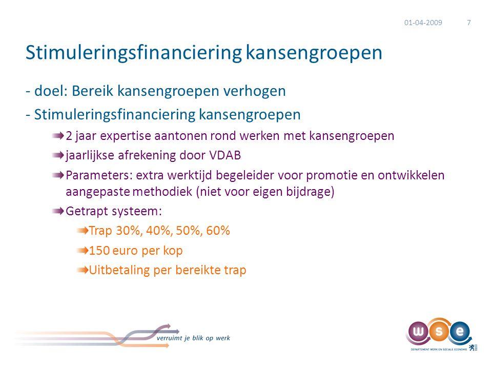 Stimuleringsfinanciering kansengroepen - doel: Bereik kansengroepen verhogen - Stimuleringsfinanciering kansengroepen 2 jaar expertise aantonen rond w
