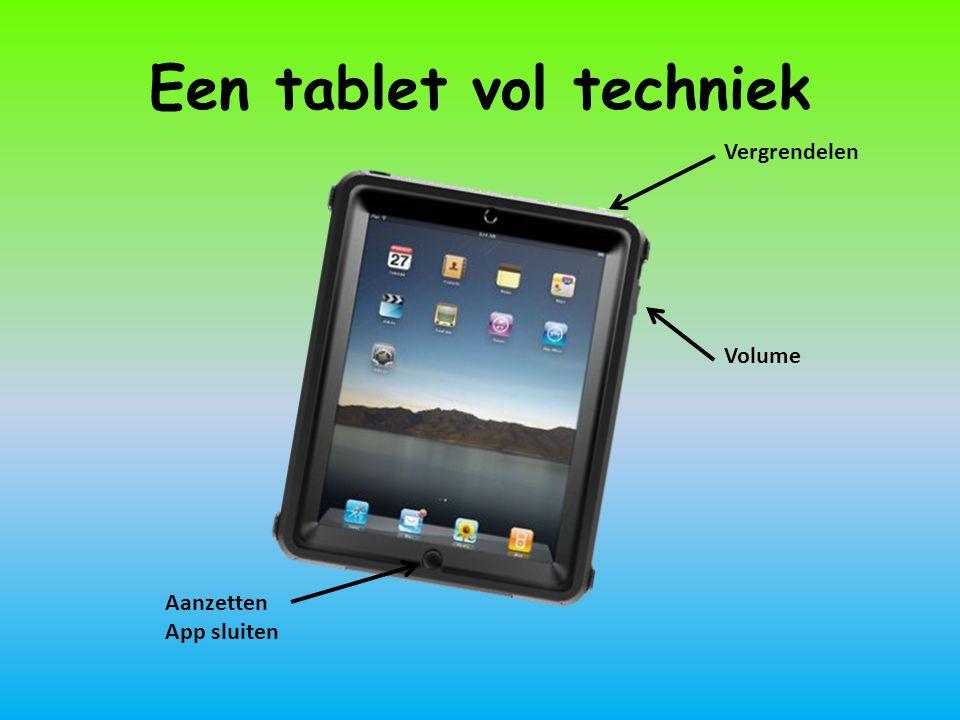 Een tablet vol techniek Aanzetten App sluiten Volume Vergrendelen