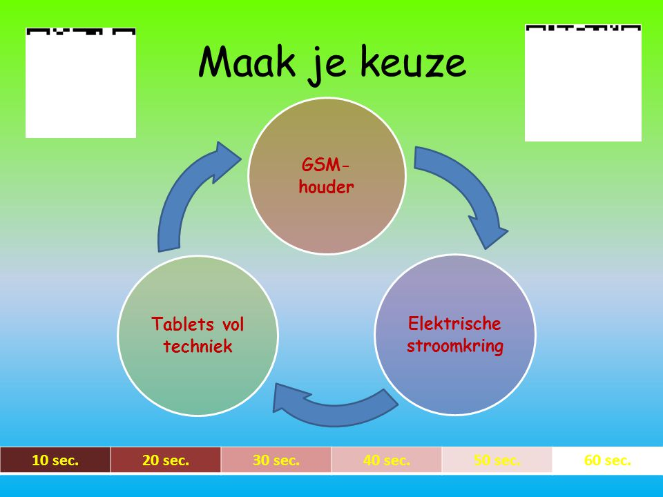 Maak je keuze GSM- houder Tablets vol techniek Elektrische stroomkring 10 sec.20 sec.30 sec.40 sec.50 sec.60 sec.