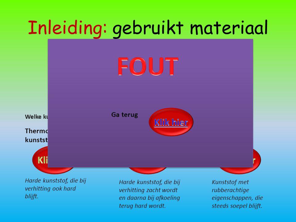 Inleiding: gebruikt materiaal Welke kunststof-soort gebruiken we best voor het maken van de gsm-houder? Harde kunststof, die bij verhitting ook hard b