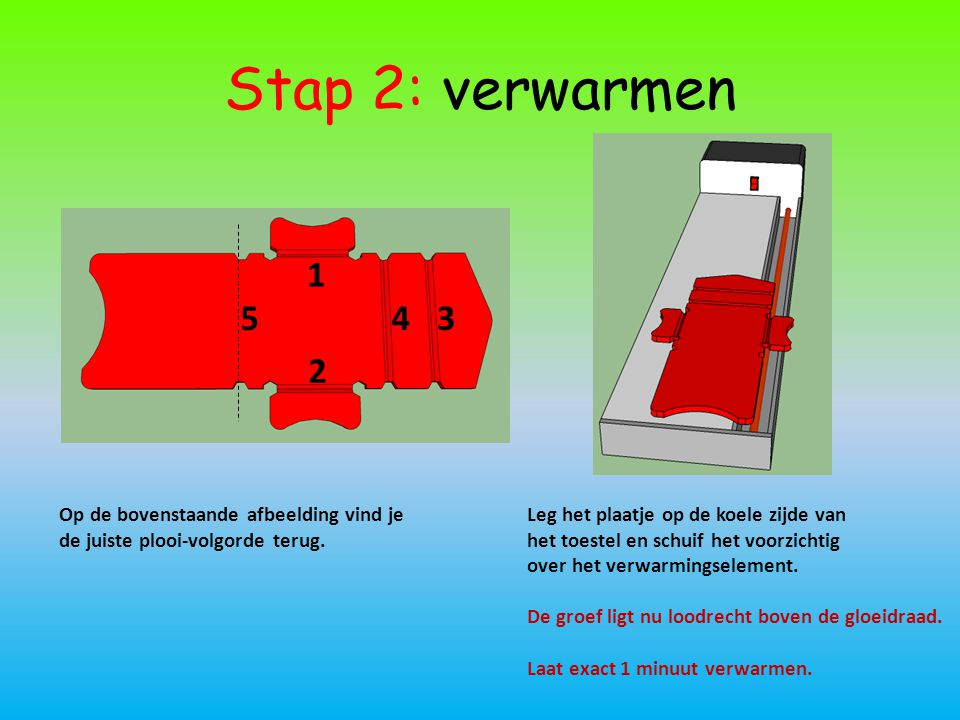 Stap 2: verwarmen Op de bovenstaande afbeelding vind je de juiste plooi-volgorde terug. 1 2 543 Leg het plaatje op de koele zijde van het toestel en s
