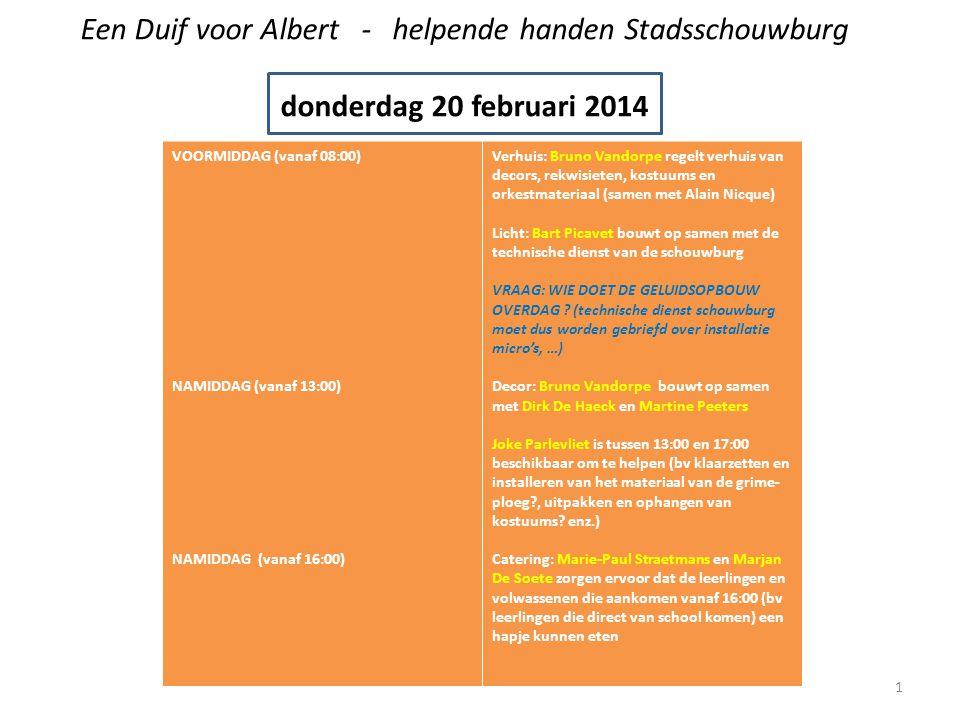 Een Duif voor Albert - helpende handen Stadsschouwburg donderdag 20 februari 2014 VOORMIDDAG (vanaf 08:00) NAMIDDAG (vanaf 13:00) NAMIDDAG (vanaf 16:00) Verhuis: Bruno Vandorpe regelt verhuis van decors, rekwisieten, kostuums en orkestmateriaal (samen met Alain Nicque) Licht: Bart Picavet bouwt op samen met de technische dienst van de schouwburg VRAAG: WIE DOET DE GELUIDSOPBOUW OVERDAG .