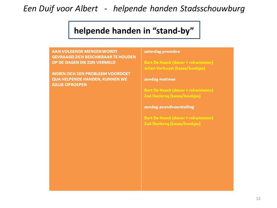 Een Duif voor Albert - helpende handen Stadsschouwburg helpende handen in stand-by AAN VOLGENDE MENSEN WORDT GEVRAAGD ZICH BESCHIKBAAR TE HOUDEN OP DE DAGEN DIE ZIJN VERMELD INDIEN ZICH EEN PROBLEEM VOORDOET QUA HELPENDE HANDEN, KUNNEN WE JULLIE OPROEPEN zaterdag première Bart De Haeck (decor + rekwisieten) Jolien Verbuyst (kassa/boekjes) zondag matinee Bart De Haeck (decor + rekwisieten) Zoë Declercq (kassa/boekjes) zondag avondvoorstelling Bart De Haeck (decor + rekwisieten) Zoë Declercq (kassa/boekjes) 14