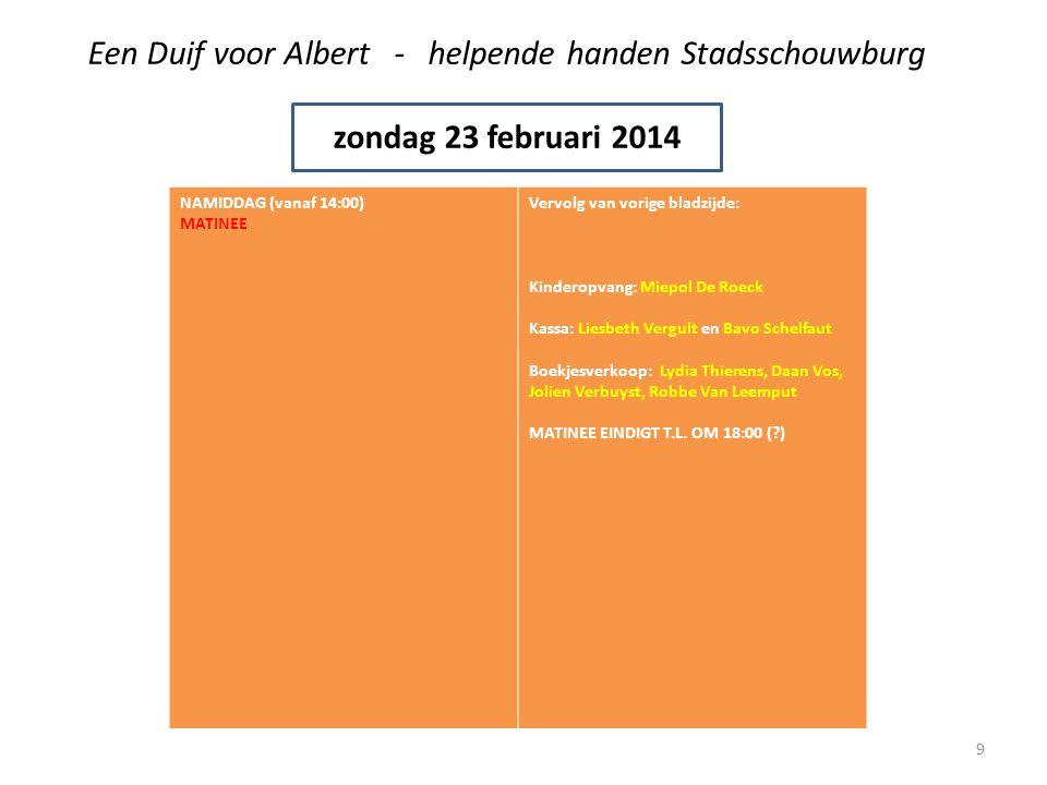 Een Duif voor Albert - helpende handen Stadsschouwburg zondag 23 februari 2014 AVOND (vanaf +/- 18:00) AVOND (vanaf 19:00) AVONDVOORSTELLING Catering: Marie-Paul Straetmans, Marjan De Soete en Greet Geers zorgen er voor dat iedereen een hapje kan eten tussen 18:00 en 19:00 IEDEREEN STIPT AANWEZIG VOOR DE AVONDVOORSTELLING OM 19:00 !!.