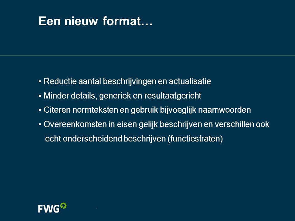 Een nieuw format… ▪ Reductie aantal beschrijvingen en actualisatie ▪ Minder details, generiek en resultaatgericht ▪ Citeren normteksten en gebruik bij