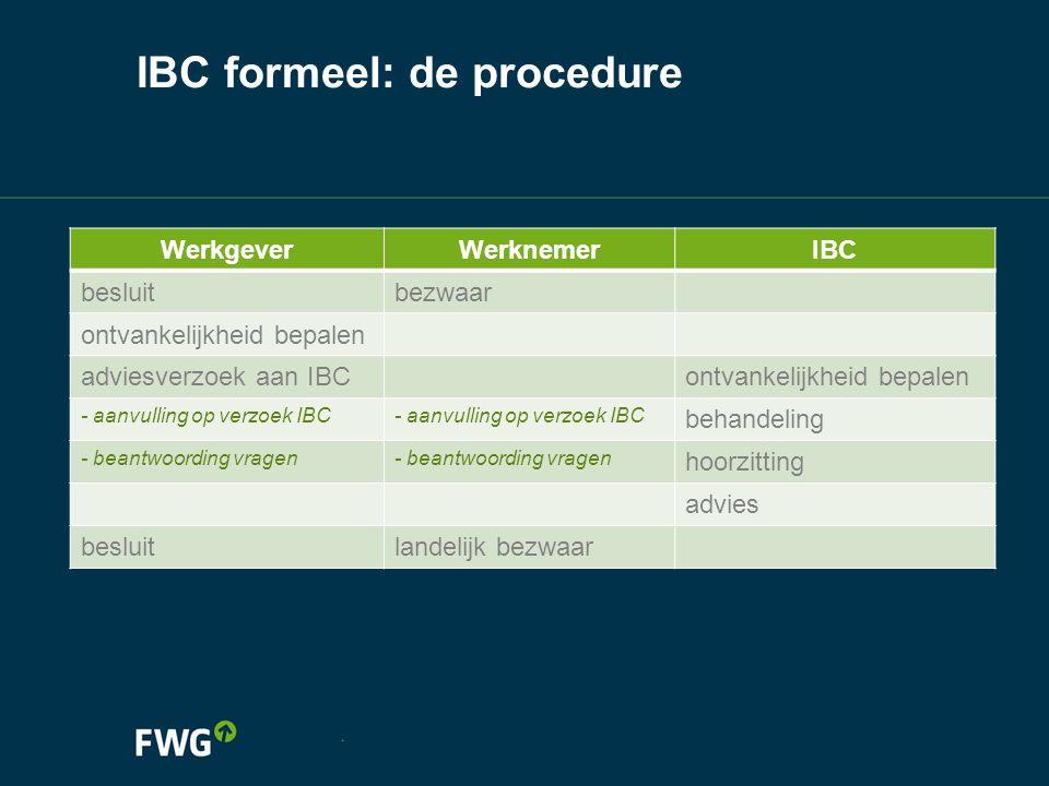 IBC formeel: de procedure WerkgeverWerknemerIBC besluitbezwaar ontvankelijkheid bepalen adviesverzoek aan IBContvankelijkheid bepalen - aanvulling op