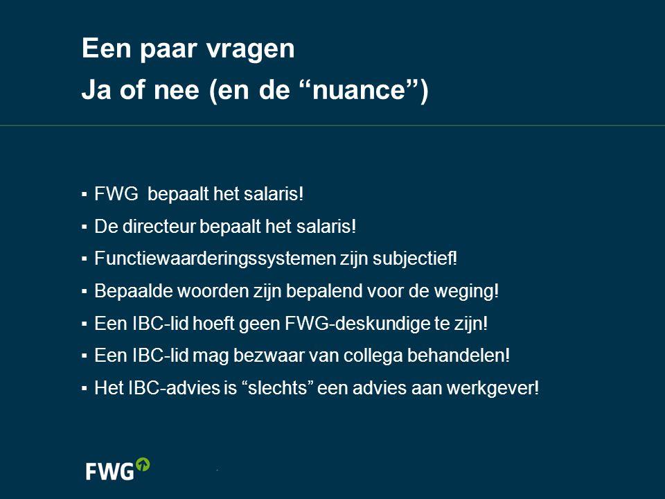 """Een paar vragen Ja of nee (en de """"nuance"""") ▪ FWG bepaalt het salaris! ▪ De directeur bepaalt het salaris! ▪ Functiewaarderingssystemen zijn subjectief"""