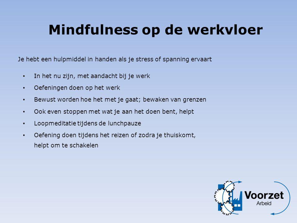 Je hebt een hulpmiddel in handen als je stress of spanning ervaart Mindfulness op de werkvloer • In het nu zijn, met aandacht bij je werk • Oefeningen