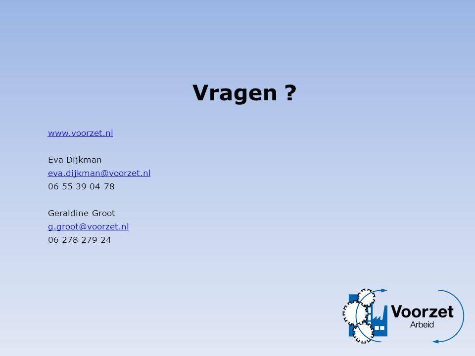 www.voorzet.nl Eva Dijkman eva.dijkman@voorzet.nl eva.dijkman@voorzet.nl 06 55 39 04 78 Geraldine Groot g.groot@voorzet.nl 06 278 279 24 g.groot@voorz