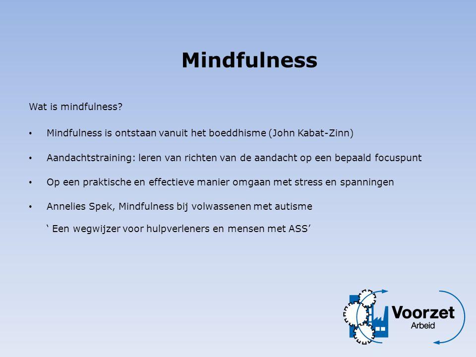 Wat is mindfulness? • Mindfulness is ontstaan vanuit het boeddhisme (John Kabat-Zinn) • Aandachtstraining: leren van richten van de aandacht op een be