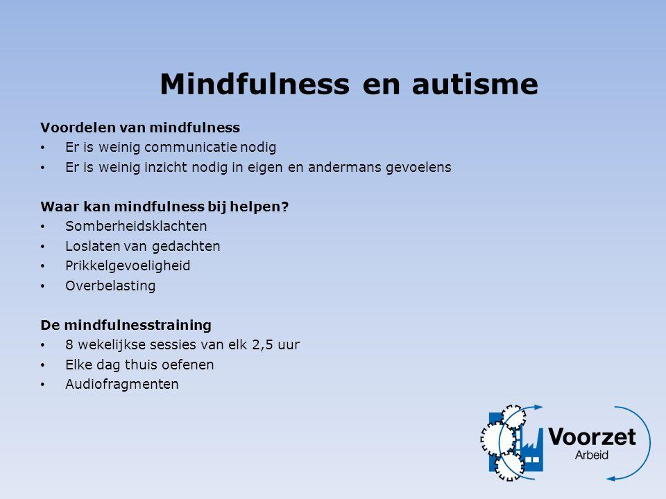 Voordelen van mindfulness • Er is weinig communicatie nodig • Er is weinig inzicht nodig in eigen en andermans gevoelens Waar kan mindfulness bij help
