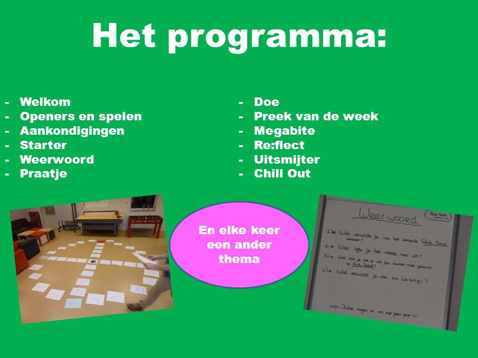 Het programma: -Welkom -Openers en spelen -Aankondigingen -Starter -Weerwoord -Praatje -Doe -Preek van de week -Megabite -Re:flect -Uitsmijter -Chill