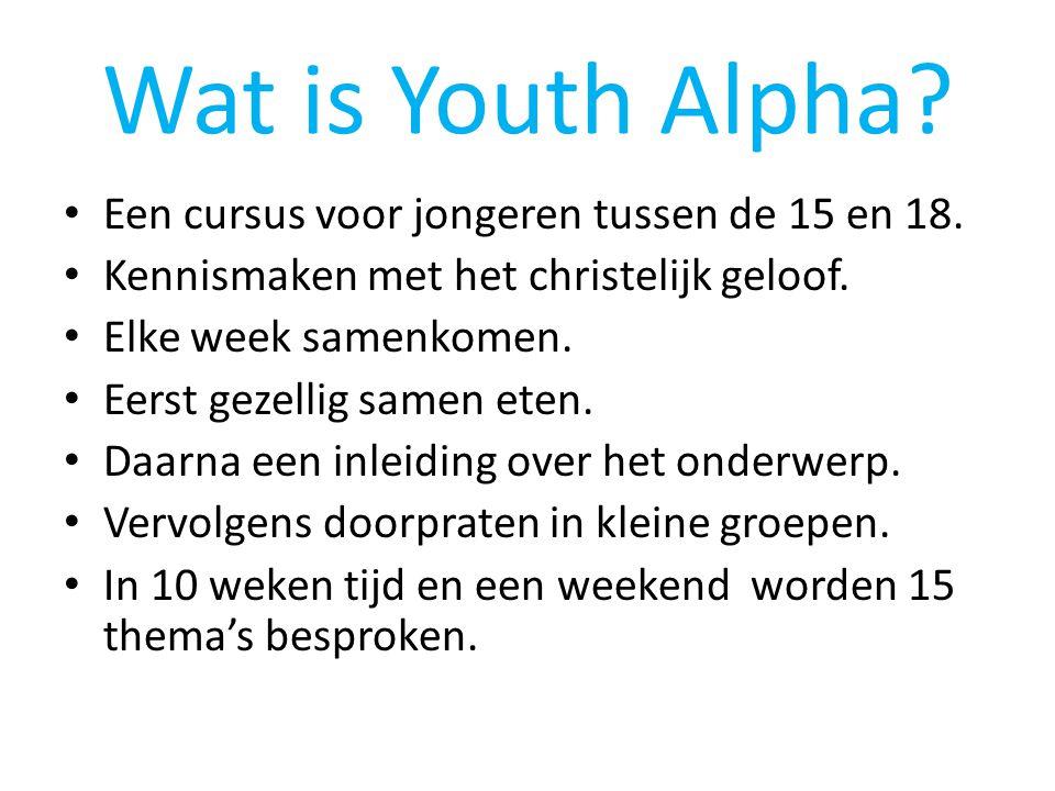 Wat is Youth Alpha? • Een cursus voor jongeren tussen de 15 en 18. • Kennismaken met het christelijk geloof. • Elke week samenkomen. • Eerst gezellig