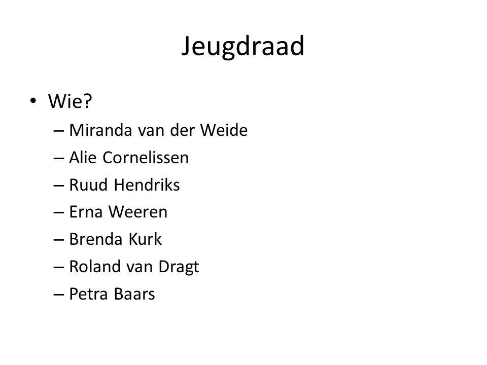 Jeugdraad • Wie? – Miranda van der Weide – Alie Cornelissen – Ruud Hendriks – Erna Weeren – Brenda Kurk – Roland van Dragt – Petra Baars